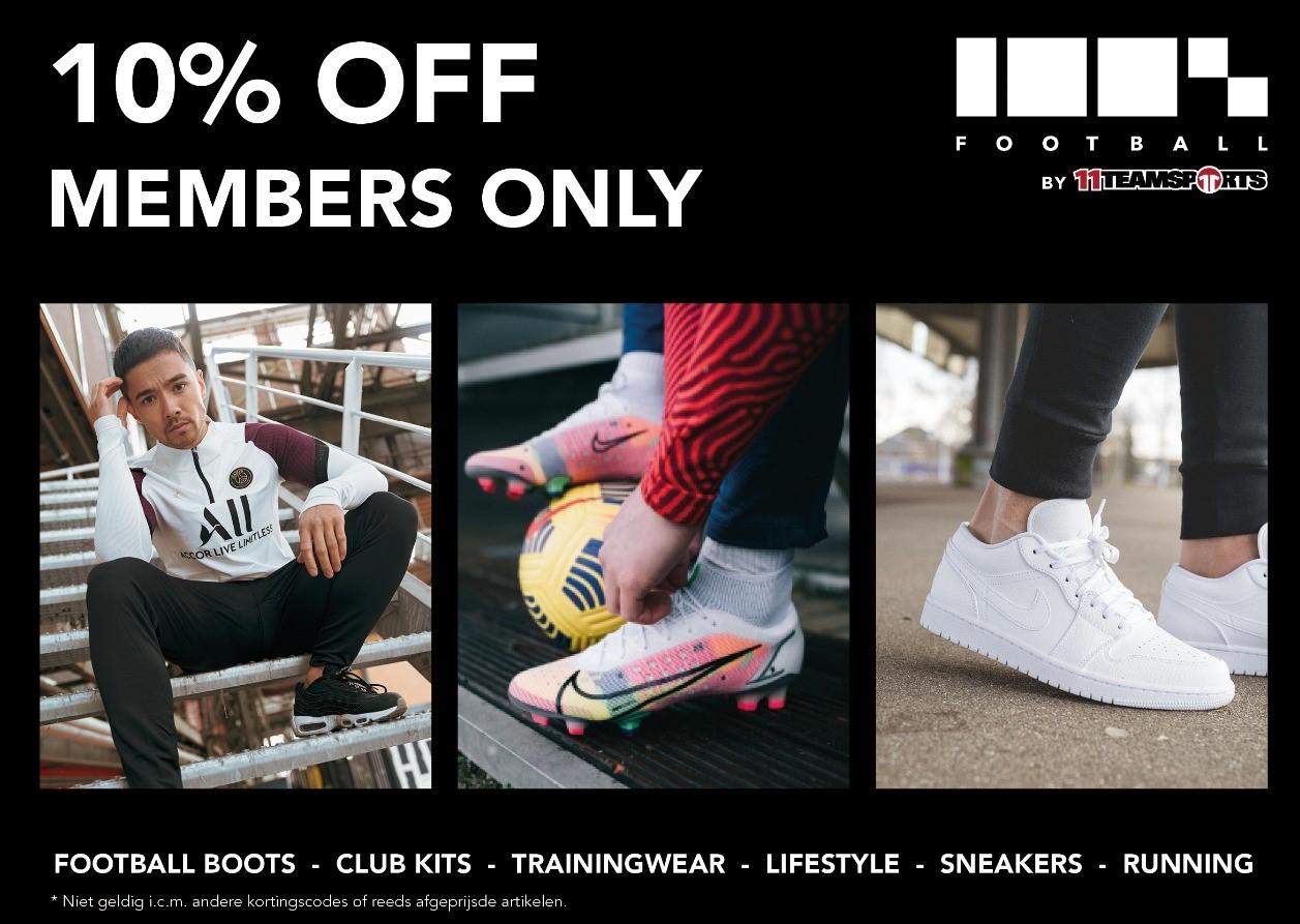 Korting op schoenen en kleding bij 100% Football